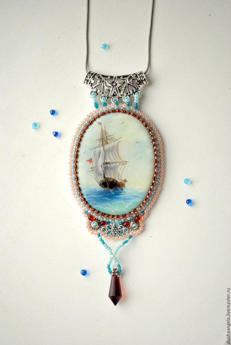 """Купить кулон """"Парусник"""" лаковая миниатюра. - тёмно-бирюзовый, корабль, море, море живопись"""
