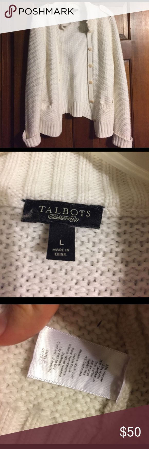 "Talbots Rabbit Hair/Cashmere Jacket I love this jacket! (But don't get much cold weather in ☀️ Florida). Excellent condition. No stains and super soft! Arm length from shoulder 24"", arm pit to arm pit length at back 17"", and length from bottom of collar to bottom at back is 23"". Not sure what category to exactly put this in on poshmark Talbots Sweaters Cardigans"