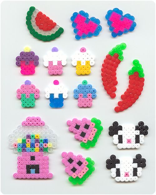 Perler bead crafts: cupcake, chilli, panda, gumball, watermelon & heart.
