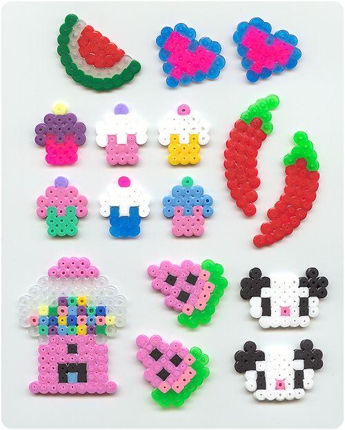 Perler bead crafts: cupcake, chilli, panda, gumball, watermelon & heart.