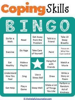 Stress management : Stress management : Coping Skills Bingo Game for Kids and Teens  Helpful Scho