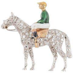 English Diamond Enamel Gold Jockey and Racehorse