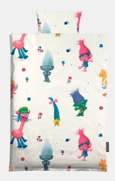 Cotton white bedding wíth Trolls DreamWorks movie print.