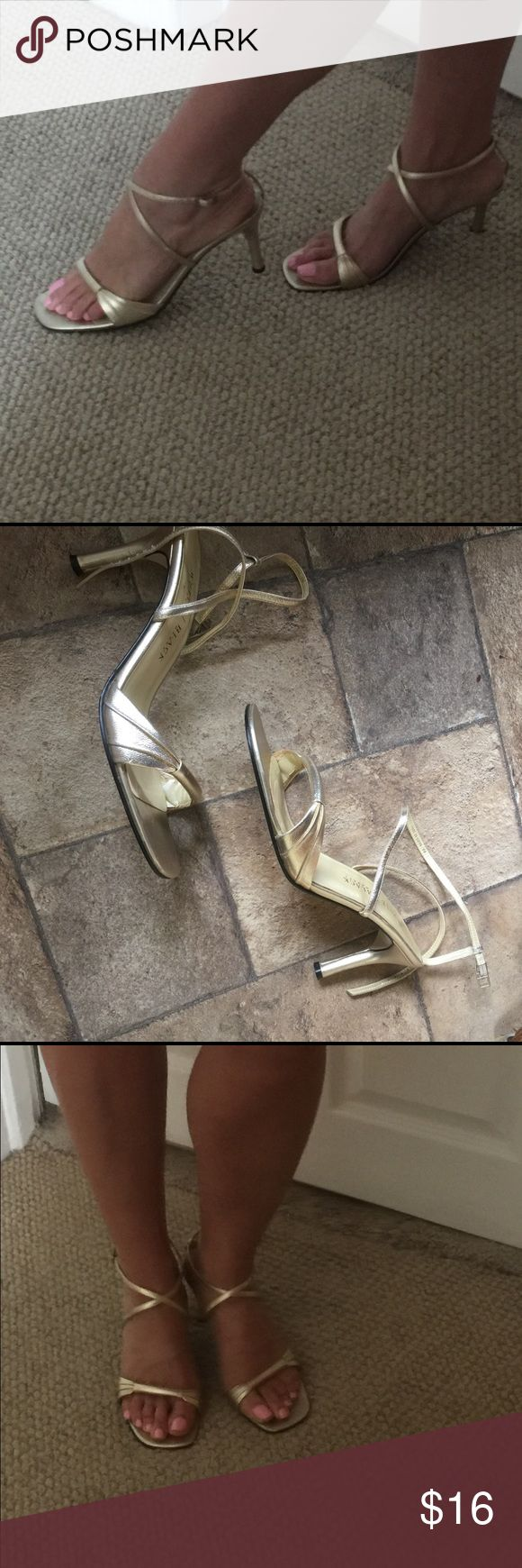 WHBM Strappy  Gold Sandal Heels Nice condition Gold sandals by White House Back Market,Sz 9. White House Black Market Shoes Sandals