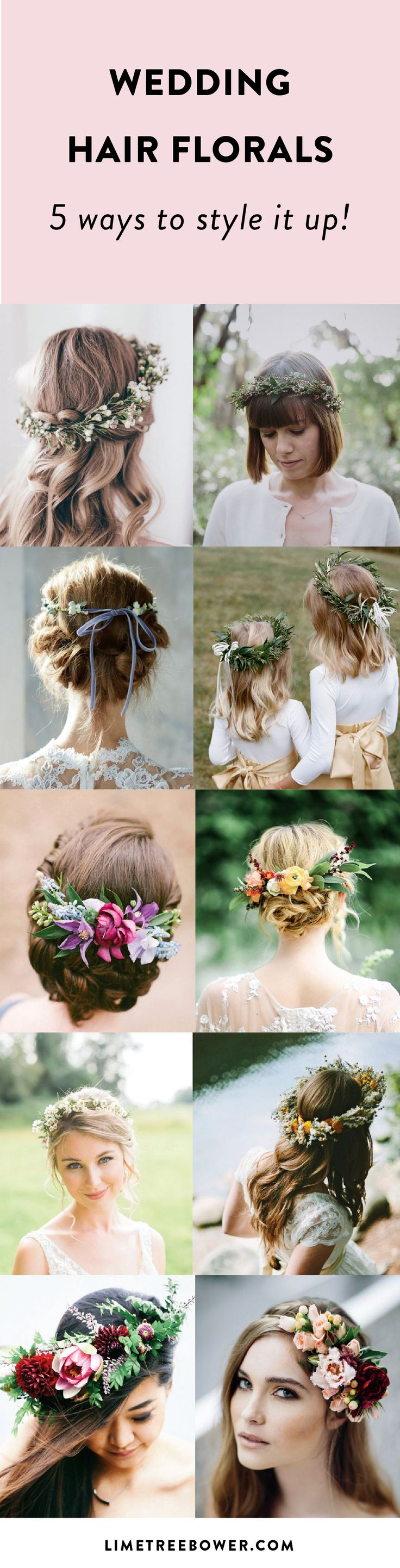 Ways to style wedding hair with flowers. See how to style your hair up for your wedding. Beautiful bridal wedding hairstyles.   Lime Tree Bower
