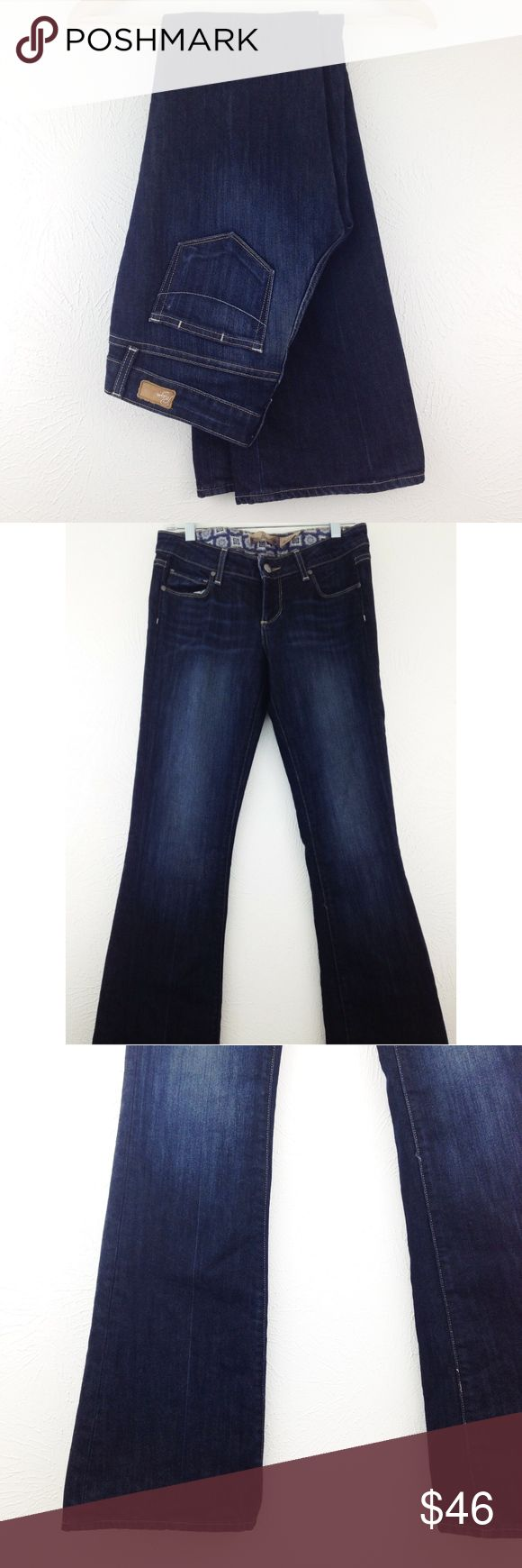 """Paige Jeans """"Laurel Canyon"""" Bootcut Paige Jeans bootcut jeans, """"Laurel Canyon"""" style. Low-rise, slim through the hips and thighs. Dark wash. 60% cotton, 40% polyester. Approximately 41"""" long, 34"""" inseam, 7.5"""" rise.  Excellent condition.  (C06) Paige Jeans Jeans Boot Cut"""