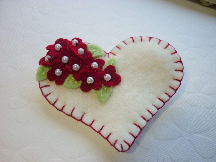 Felt Heart Brooch Beaded Red Flowers Valentine.