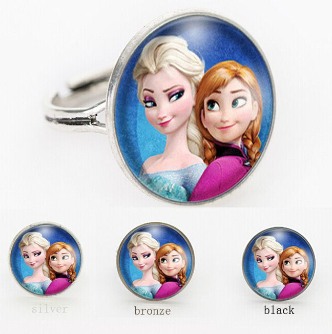 3 Colors glass ring Anna Elsa girls rings movie bijoux summer style Vintage movie jewelry for friend adjustable ring