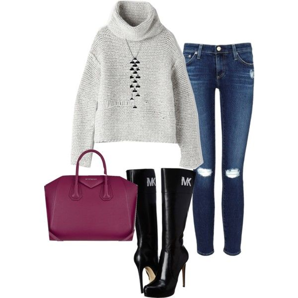 A fashion look from February 2015 featuring Raquel Allegra sweaters, AG Adriano Goldschmied jeans and MICHAEL Michael Kors boots. Browse and shop related looks.