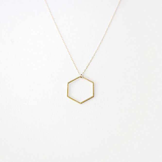 Minimal Hexagon Necklace Nice necklaces and simple jewlery