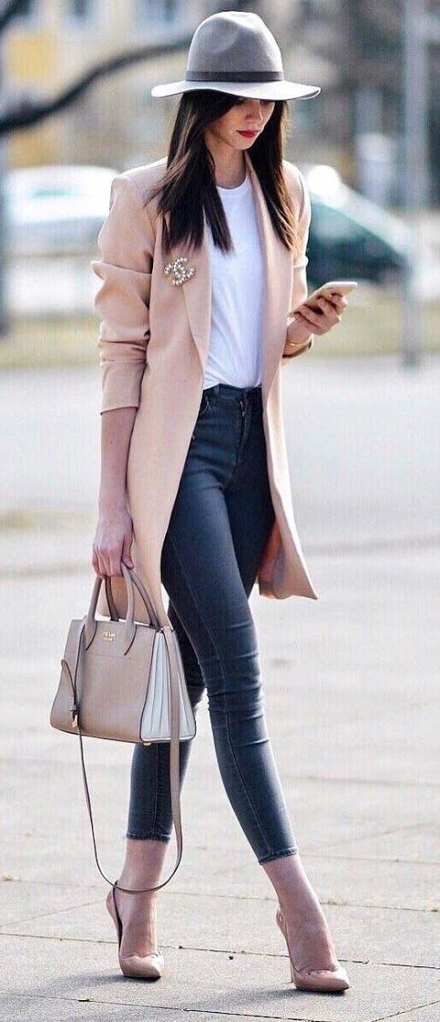 Long, pink blazer + white top + skinny jeans + nude, pump stiletto heels + floppy hat + hair, down & straight