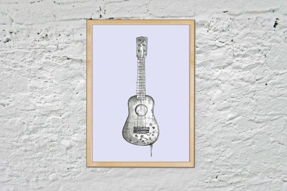 Guitar print guitar nursery art music playroom by milisprintwork