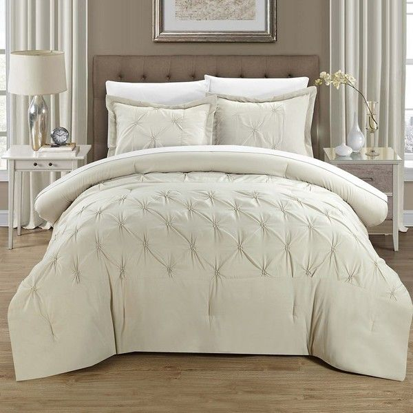 Veronica Beige 8-pc. King Comforter Set ($150) ❤ liked on Polyvore featuring home, bed & bath, bedding, comforters, beige comforter set, king size comforters, polyester comforter, cream comforter and cream comforter set