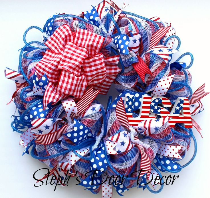 USA Fourth of July Wreath - 4th of July Wreath - July Fourth Decor - 4th of July Deco Mesh - July 4th Decor - Red White Blue Wreath by StephsDoorDecor on Etsy