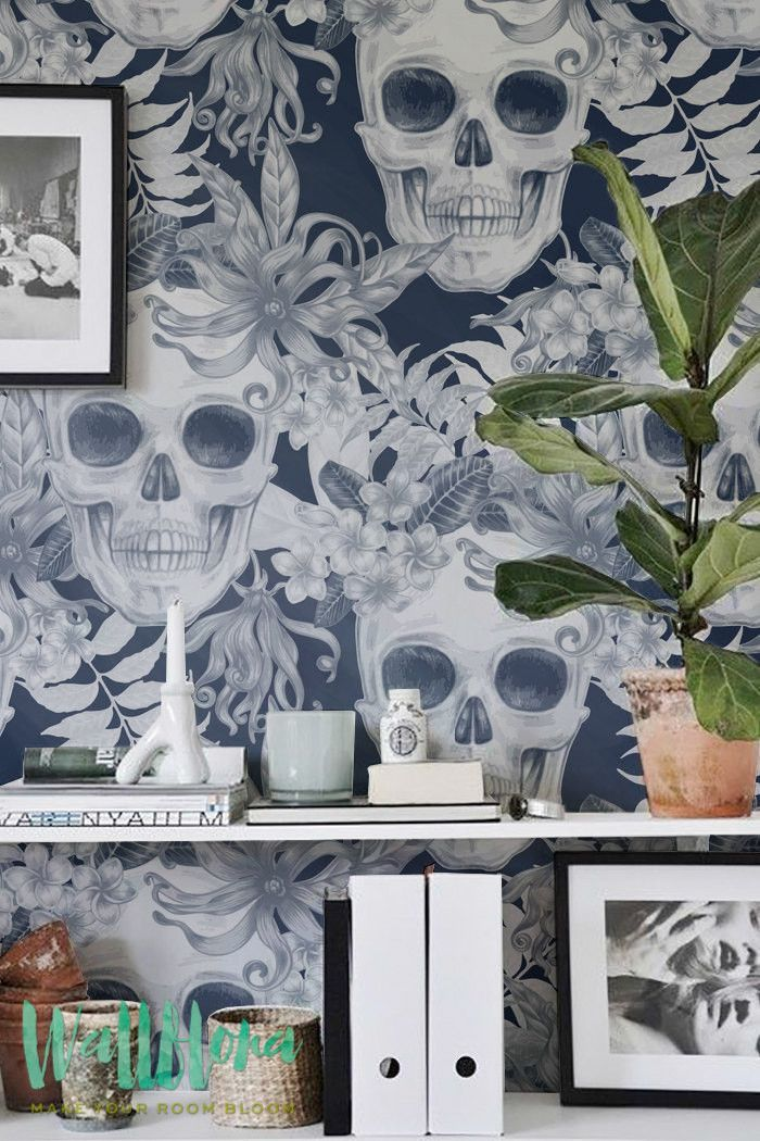 Hibiscus and Skull Wallpaper | Removable Wallpaper | Fern Wallpaper | Wall Sticker | Fern Wall Decal | Scull Adhesive Wallpaper