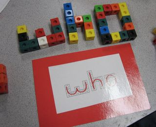 I have so many of these cubes.....what a great idea!!  Spell words using unifix cubes // Word work