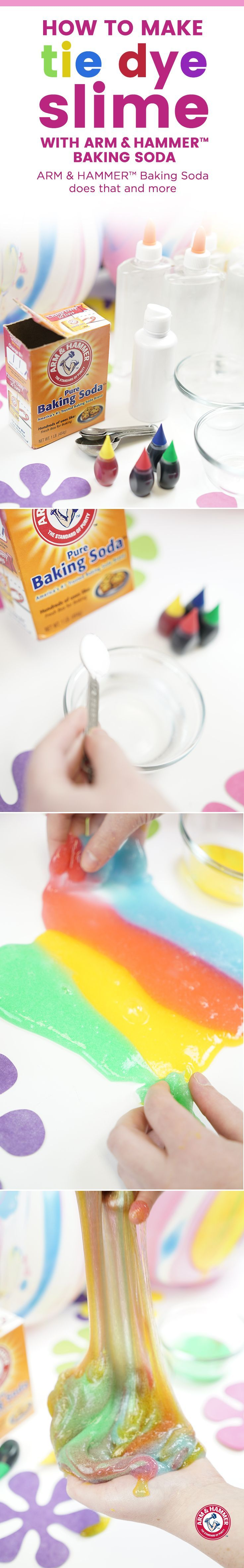 Start with 4 small bowls. Pour 4 oz. of clear school glue in each. In every bowl, add 1/2 tablespoon of baking soda; mix well.  Once dissolved, add 3-5 drops of food coloring in each bowl, then stir. When that's fully mixed, gradually add 10-15 drops of saline solution, a few droplets at a time. When the slime reaches a gooey state remove & knead with your hands.  When all batches are ready lay on a flat surface & twist to create tie dye pattern.