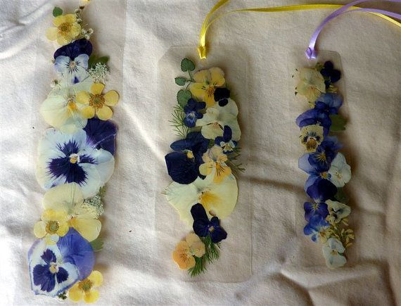 Laminated pansy pressed flower bookmarks number a