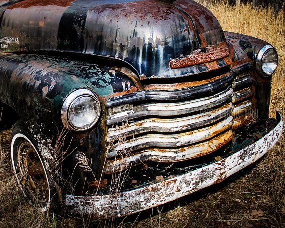 """Old Truck Photography, Fine Art Print, Chevy, Vintage Chevrolet, Grill, Wall Decor, Poster, Black and White Option, Garage Art - """"Grillin'"""""""
