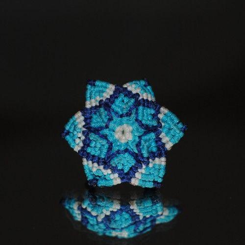 Ηandmade macramé Ring, Flower shaped, Waxed blue, cyan and white thread, 2cm. diameter http://reignofknots.com/index.php?route=product/category&path=17