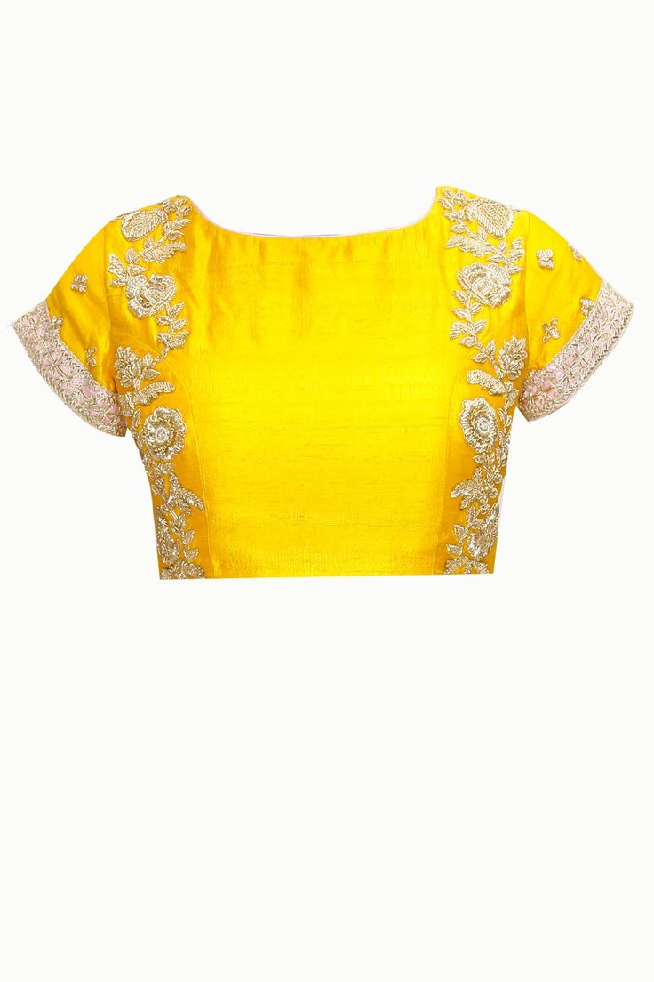 Yellow and white three tier lehenga sari with embroidered blouse available only at Pernia's Pop-Up Shop.