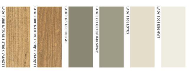 En gyllen brun beis med naturlige grønntoner  9049 Valnøtt 2 strøk + Valnøtt 1 strøk + 8469 Green Leaf + 8252 Green Harmony + 1108 Lotus + 1001 Egghvit