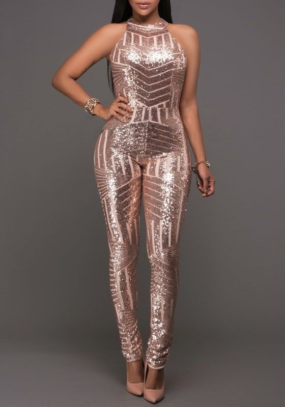 Champagne Geometric Sparkly Sequin Halter Neck Backless Sexy Bodysuit Clubwear Jumpsuit