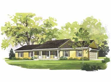 One story house plans with porches attached garage for House plans with 3 car attached garage