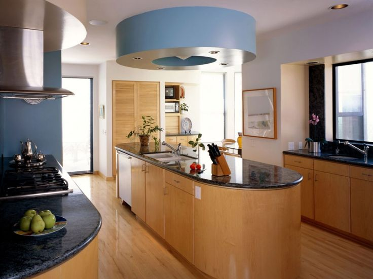 Fabulous Curve Plywood Granite Kitchen Island With Oversized Blue Round Ceiling Lamp and Wooden Floor