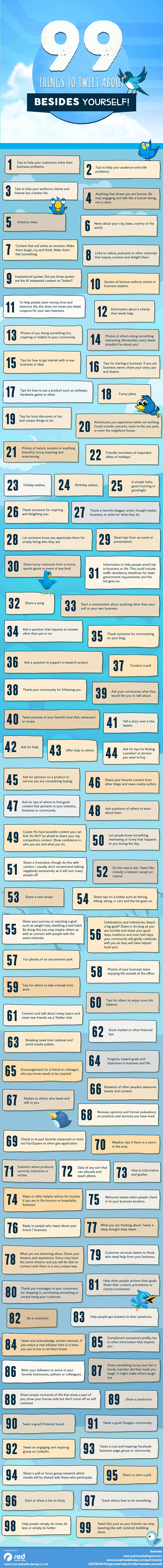 99 Things to Tweet About Besides Yourself #Twitter