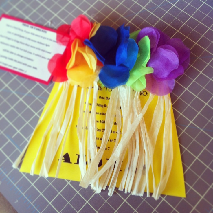 Luau invitations DIY for a girl ; Hula Skirts :)