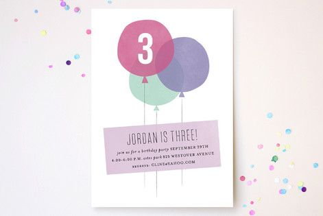 Three Balloons Children's Birthday Party Invitations by Sara Hicks Malone at minted.com