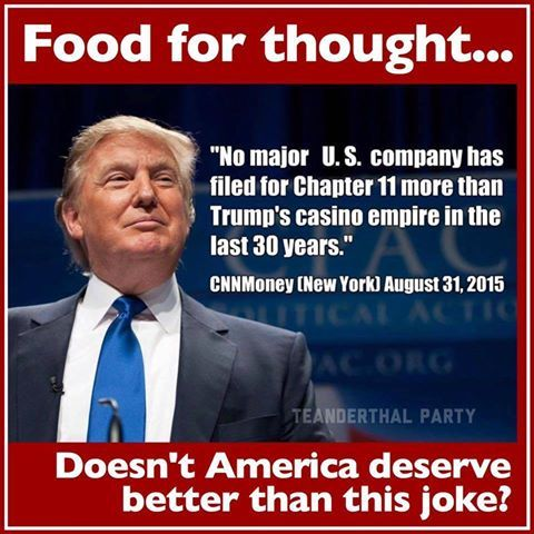 "Food for thought...""No major U.S. company has filed for Chapter 11 more than Trump's casino empire in the last 30 years."" CNN Money (New York) August 31, 2015 - We do NOT want this dolt running our country!!  See CNN link here: http://money.cnn.com/2015/08/31/news/companies/donald-trump-bankruptcy/"