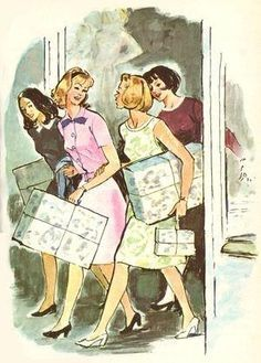 Nancy Drew illustration by Albert Chazelle. The girls are out shopping!