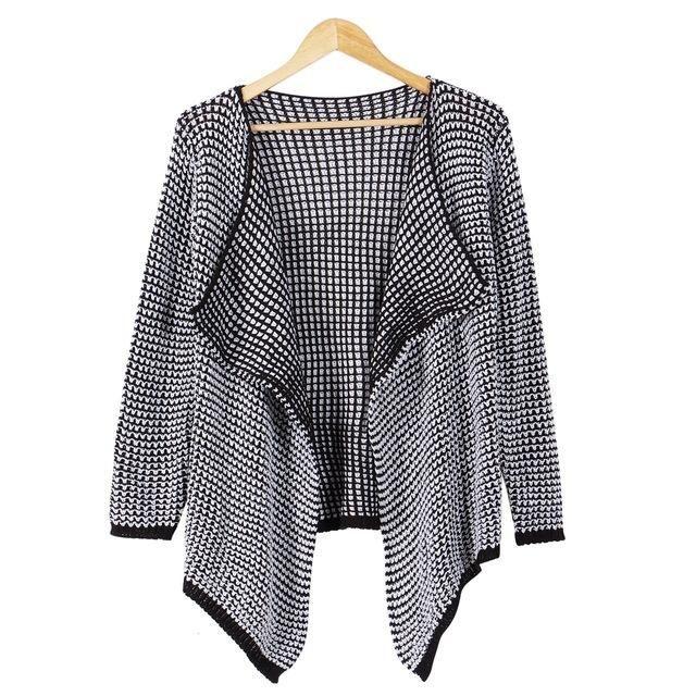 New Fashion Cardigan Long Sleeve Knitted Sweater Open Stitch Asymmetrical - Khaki or Black