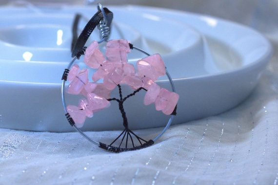 Tree of Life Pendant PInk Glass Leaves Black Wire by BeyondtheWire, $23.61