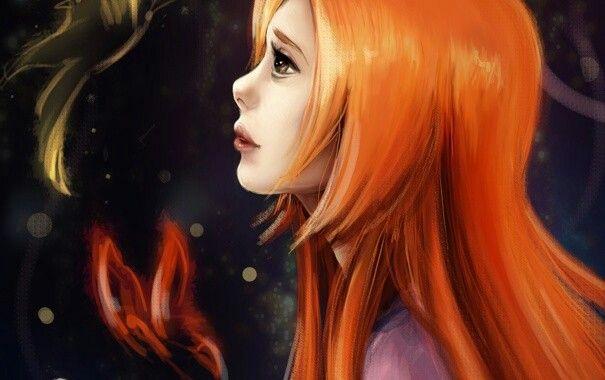 Обои арт, девушка, рыжая, бабочка, профиль картинки на ра…