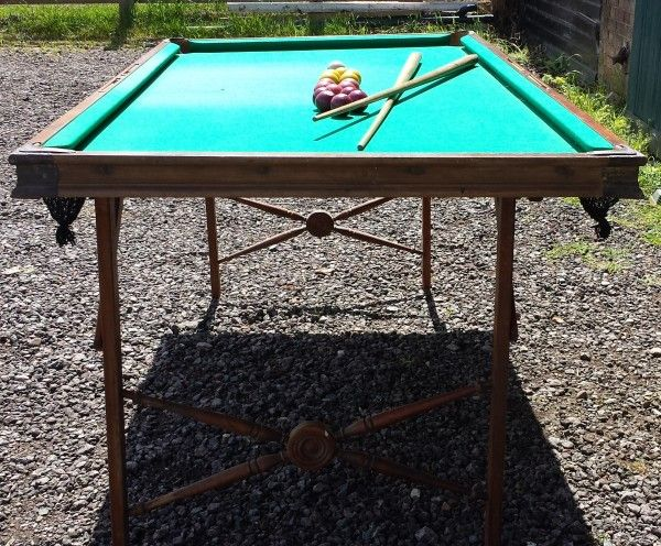 Antique pool table. Portable antique poll table / billiards table by Burrowes.