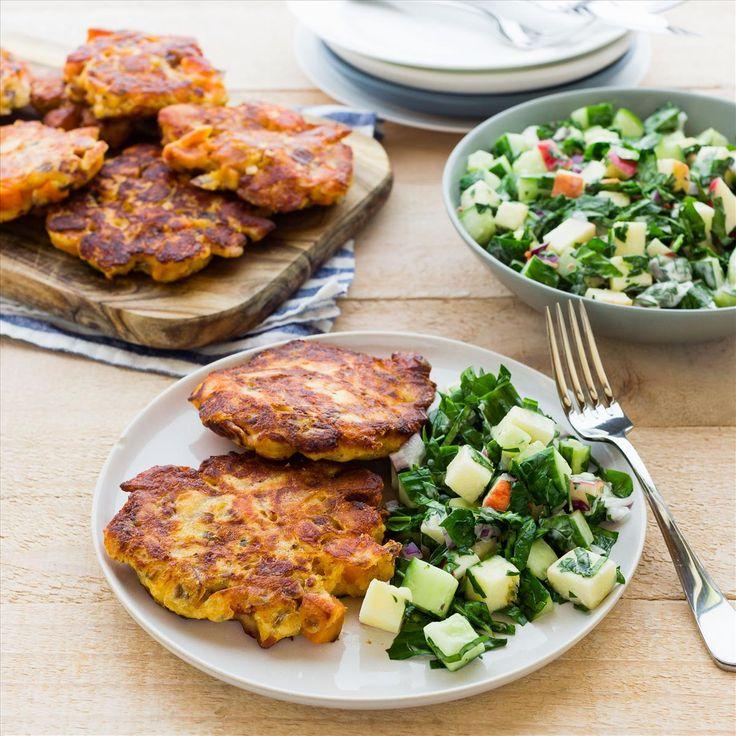 Bacon and Kumara Cakes with Apple Salad