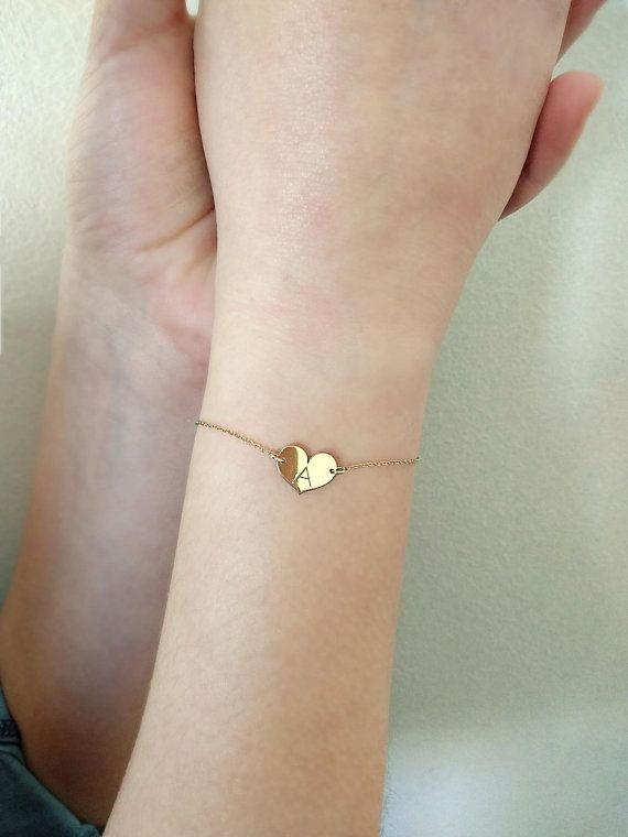 heart bracelet 14k gold bracelet initial bracelet solid gold bracelet dainty bracelet