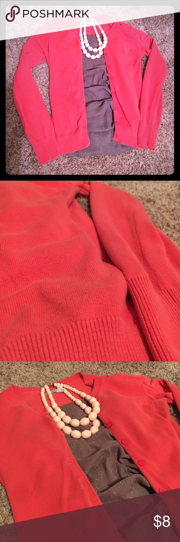 Coral Cardigan Coral Old Navy Cardigan. Good used condition with a lot of life left. Old Navy Sweaters Cardigans