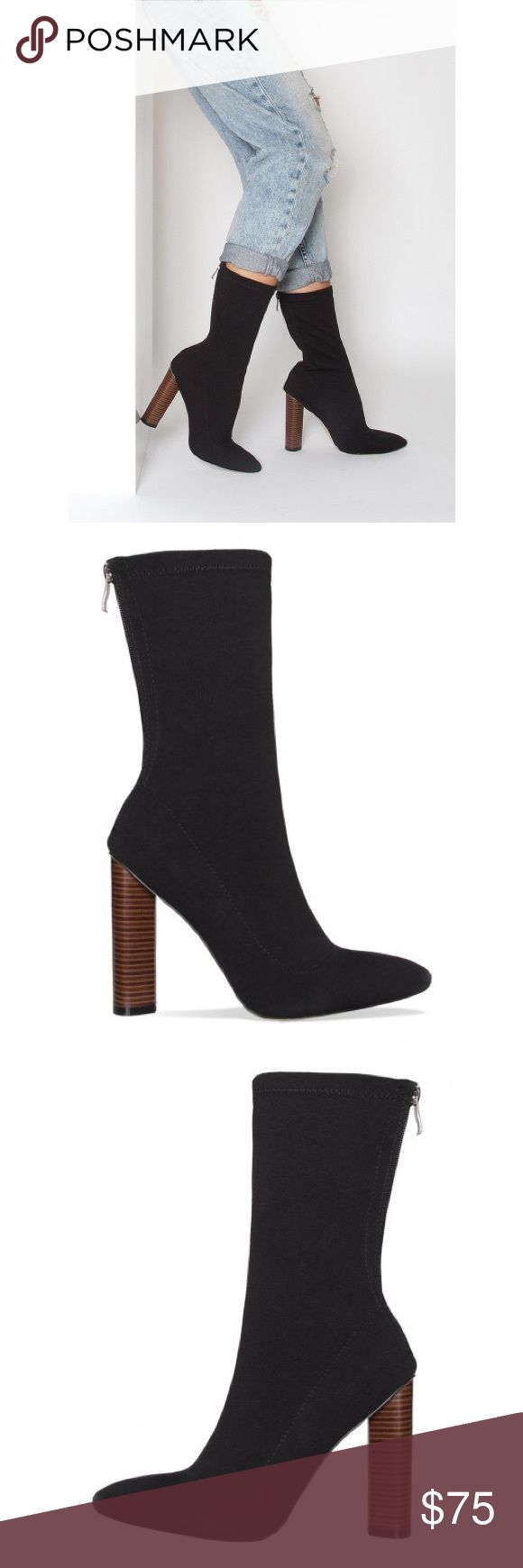 • NWT Black Bootie • NWT // Comes in box // Size 37 // 4 in. Heel // Lycra Material // Simmi Shoes Yeezy Shoes Heeled Boots
