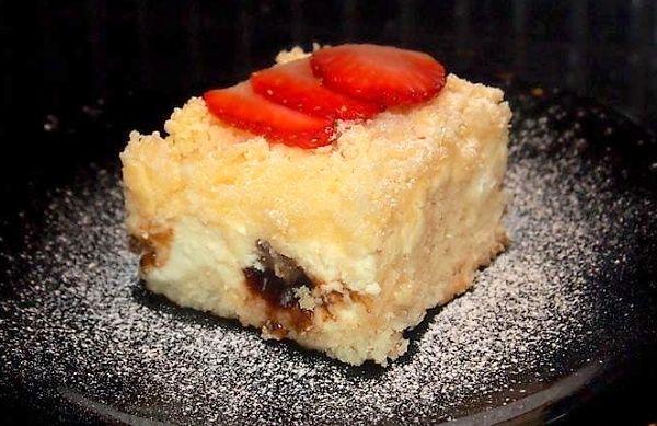 Fofr tvarohový koláč s povidly