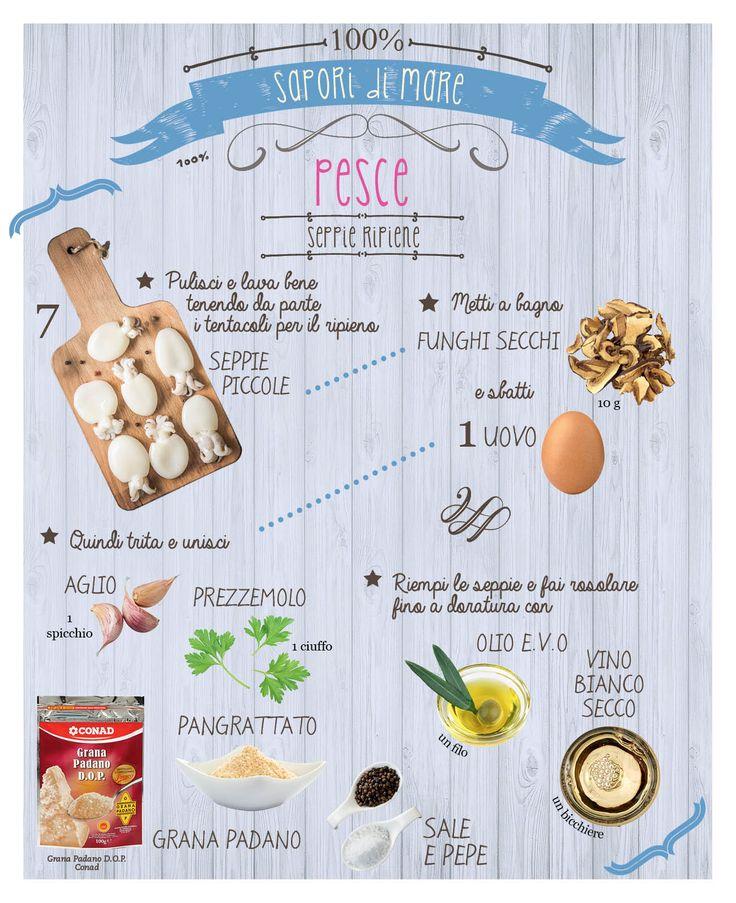 Voglia di sapori di mare? Prepara insieme a noi un bel piatto di seppie ripiene: basta seguire la ricetta di Conad Bene Insieme in infografica!