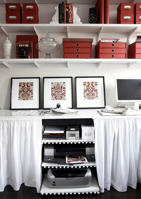 creating more storage space with skirted desks