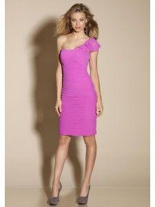 Een schouder Bodice A-Line Chiffon paarse bruidsmeisje jurken stijl 178