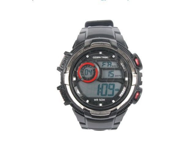 Digital Watch Black Red Accent Hike Ozark Trail Light Dial Strap Alarm Resin Men #OzarkTrail