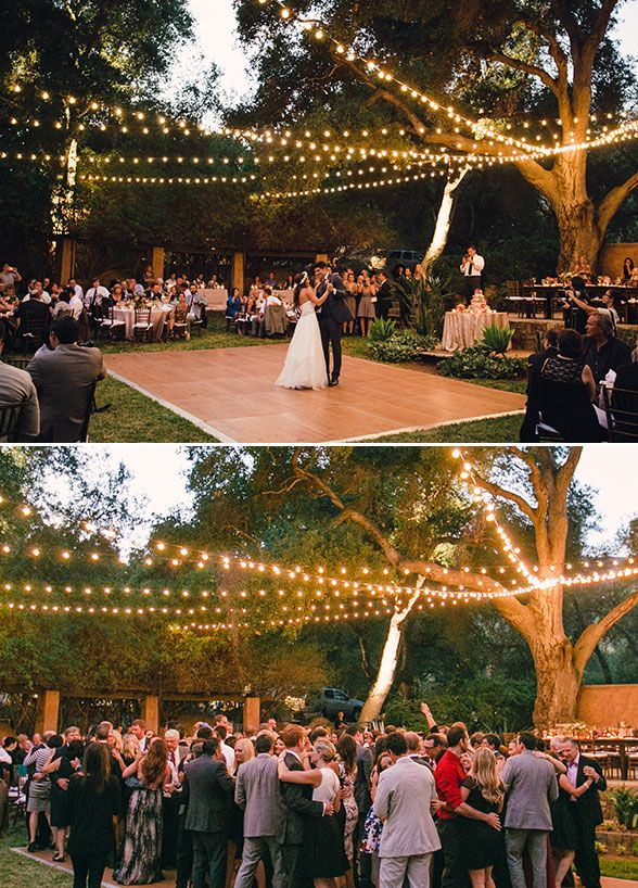Beautiful outdoor wedding lighting. #weddingreception #weddinglighting