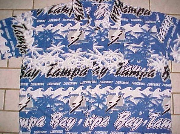 Tampa Bay Lightning Hockey NHL Itz-On Blue White Motif Hawaiian Camp Shirt 2XL #ItzOn #TampaBayLightning