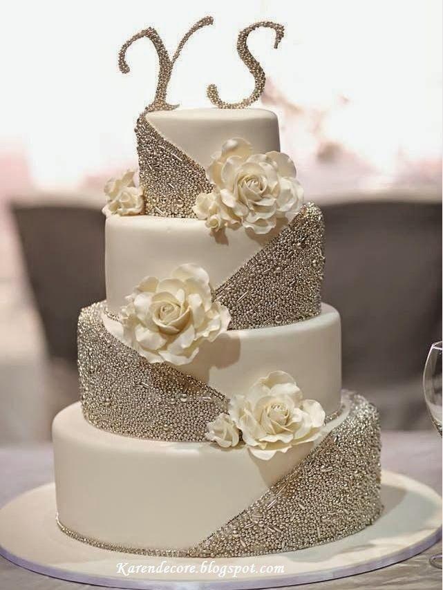 Decore Sua Mente, Seu Corpo E Seu Espaço: Bolos de Casamento com Detalhes Prateados: Tendênc...